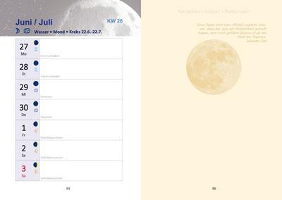 Seite aus Buchkalender: Kalendarium 2020 mit Mondphasen, Tierkreiszeichen und Seite für Gedanken und Notizen für jede Kalenderwoche