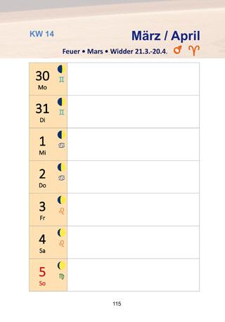 Seite aus Jahrbuch: Kalendarium 2020 mit Mondphasen und Tierkreiszeichent