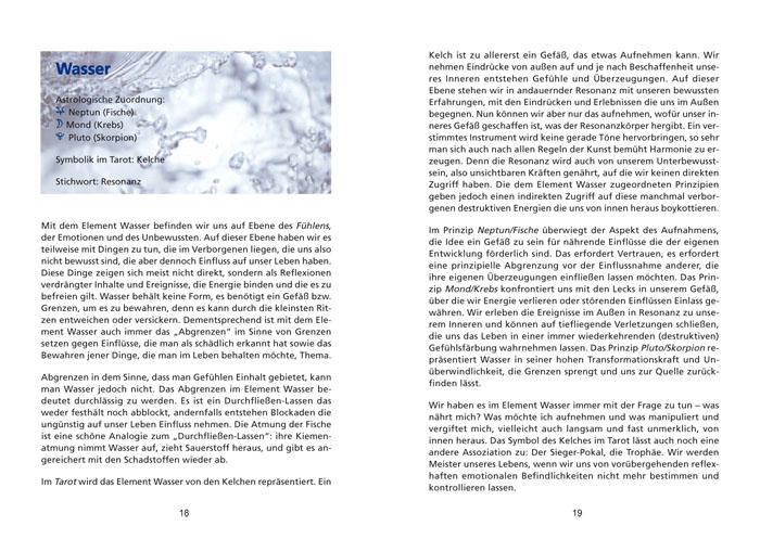 Seite aus Buchkalender: Das Element Wasser
